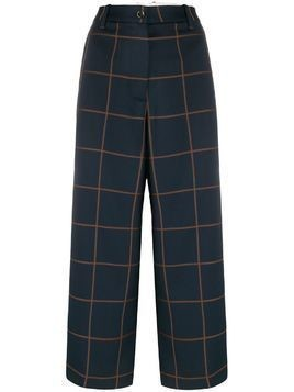 Nine In The Morning check pattern wide-leg trousers - Blue