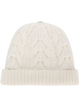 N.Peal pom-pom cable knit beanie hat - Neutrals