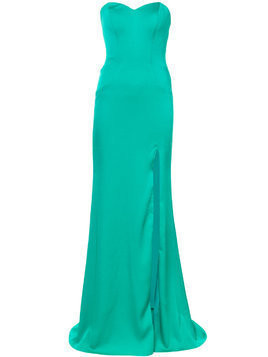 La Femme beaded strapless evening gown - Green