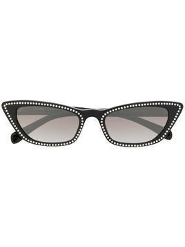 Miu Miu Eyewear crystal detailed cat eye sunglasses - Black