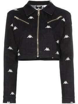 Charm's x Kappa logo-embroidered denim jacket - Black
