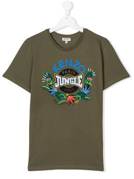 Kenzo Kids TEEN jungle print T-shirt - Green