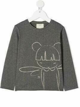 Knot fairy-print long sleeved T-shirt - Grey