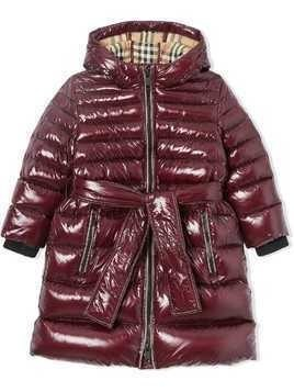 Burberry Kids Icon stripe detail down-filled hooded puffer coat - Red