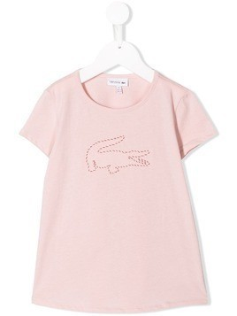 Lacoste Kids embroidered logo T-shirt - Pink