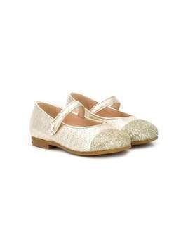 Baby Dior glitter-toe ballerina shoes - GOLD
