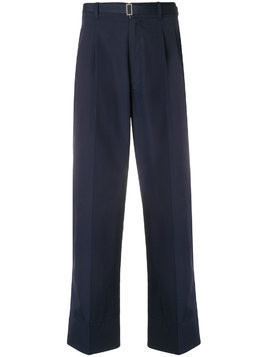 Federico Curradi straight leg belted trousers with pleats - Blue