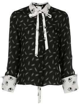 Alice+Olivia Willa mixed print shirt - Black