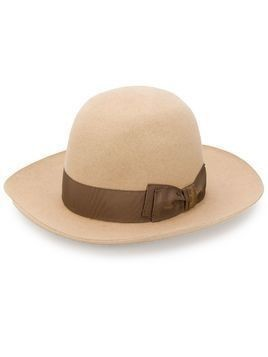 Borsalino bow detail sun hat - NEUTRALS