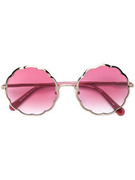 Chloé Kids scalloped round sunglasses - Metallic