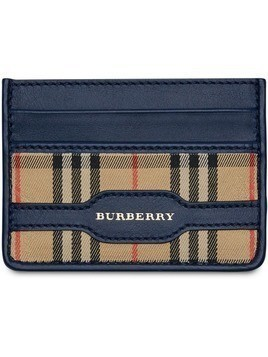 Burberry 1983 Check and Leather Card Case - Blue