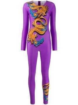 Marine Serre fitted dragon jumpsuit - Purple