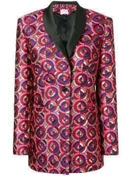 Osman metallic-jacquard blazer - Red