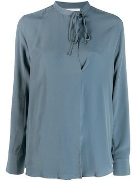 Glanshirt neck-tied blouse - Blue