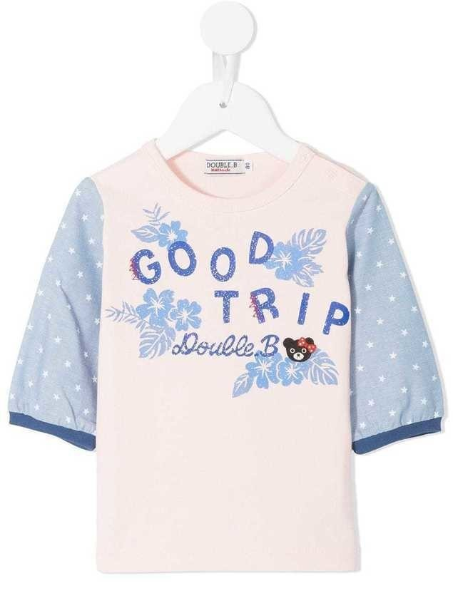 Miki House Good Trip striped sleeve tee - Pink