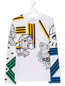 Kenzo Kids TEEN multi icon T-shirt - White