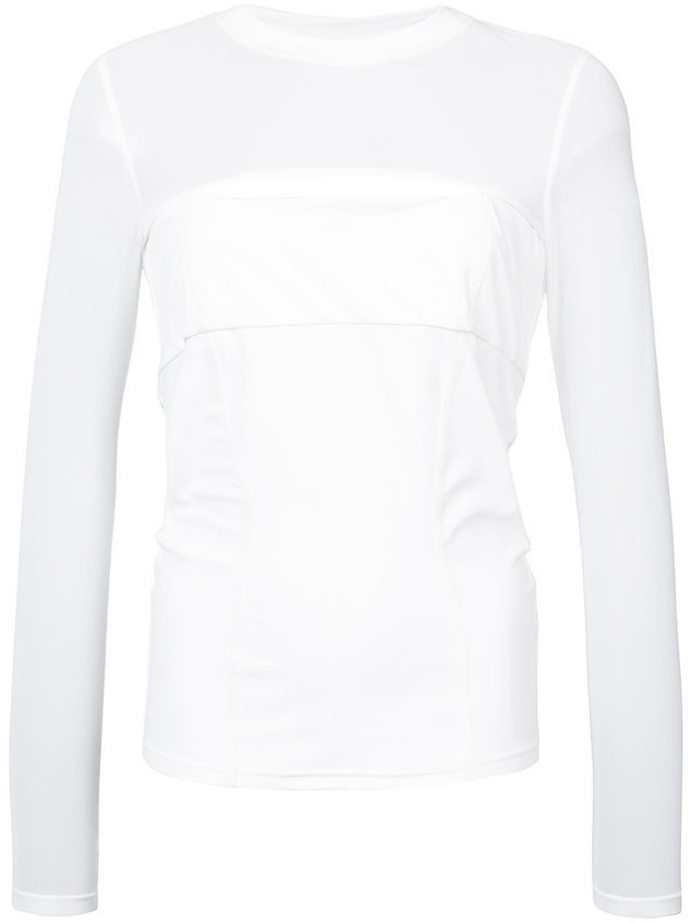 Cushnie Dominique mesh sleeve top - White