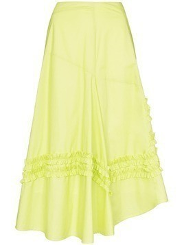 Molly Goddard A-line frill panelled midi skirt - Green