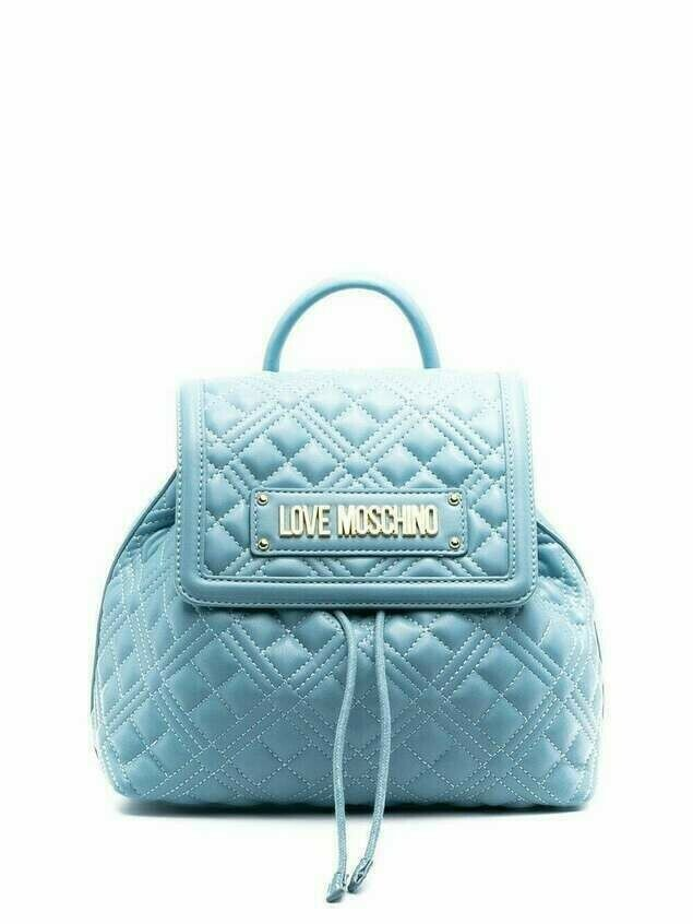 Love Moschino quilted logo backpack - Blue