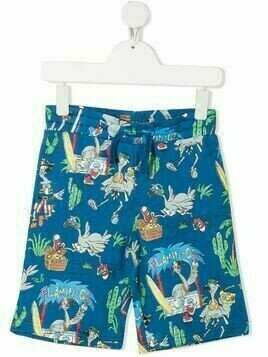 Stella McCartney Kids Flamingo Land-print shorts - Blue