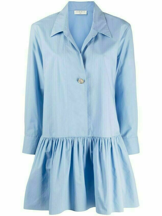 Sandro Paris Cordelia drop-waist mini shirt dress - Blue