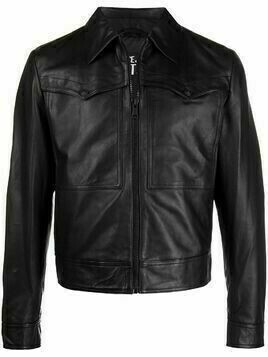 Versace Jeans Couture front flap-pocket leather jacket - Black