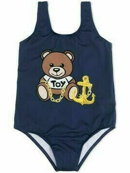 Moschino Kids Teddy anchor print swimsuit - Blue