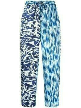 Pierre-Louis Mascia multi-print straight leg trousers - Blue
