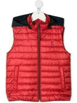 Herno Kids quilted hooded gilet - Red