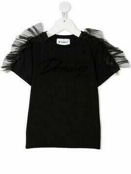 Dondup Kids short-sleeve tulle detail T-shirt - Black