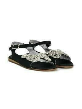 Mi Mi Sol TEEN crystal bow sandals - Black