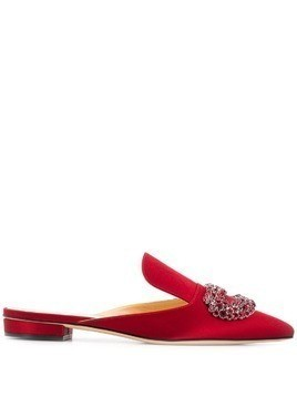 Giannico crystal buckle mules - Red