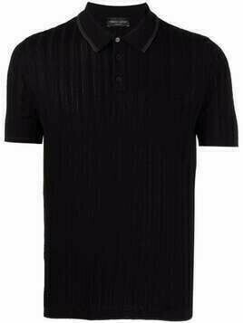 Roberto Collina ribbed-knit cotton polo shirt - Black