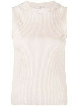 Brunello Cucinelli monili-trim ribbed tank top - Neutrals