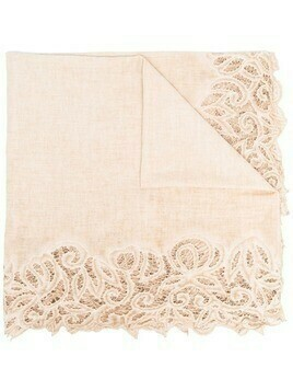 Faliero Sarti lace-trimmed cotton-blend scarf - Neutrals