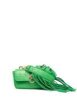 Pinko fringed croc-effect mini bag - Green