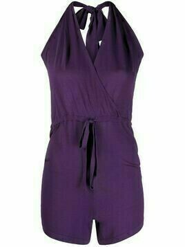 P.A.R.O.S.H. fine-knit halterneck playsuit - Purple