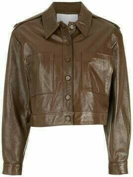 Nk leather cropped jacket - Brown