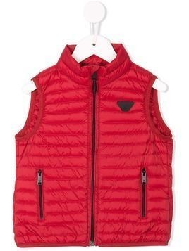 Emporio Armani Kids zip-up quilted gilet - Red