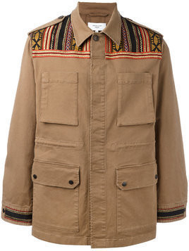 Fashion Clinic Timeless embroidered panel field jacket - Brown