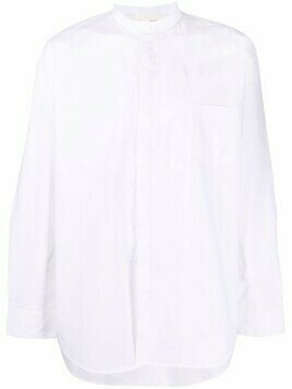 Isabel Benenato stand-up collar shirt - White