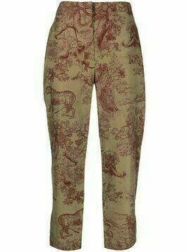 Christian Dior pre-owned animal print cropped trousers - Neutrals