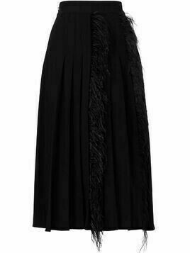 Jason Wu high-rise pleated feather-trimmed skirt - Black