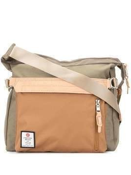 As2ov contrast panel shoulder bag - Brown