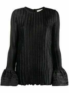 JW Anderson ribbed-knit flare-cuff blouse - Black