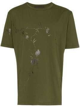 Haider Ackermann khaki floral print cotton t shirt - Green