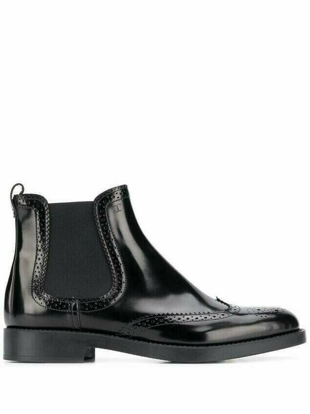 Tod's punch-hole detailing 25mm Chelsea boots - Black