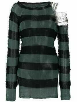 Marni horizontal-stripes destroyed jumper - Green