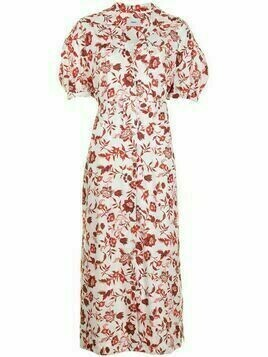 Erdem Frederick floral-print belted dress - White