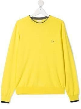 Sun 68 TEEN logo-embroidered sweatshirt - Yellow